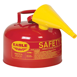 Type I Safety Can, 2.5 Gal. Red with F-15 Funnel