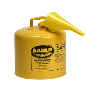 Type I Safety Can, 5 Gal. Yellow with F-15 Funnel