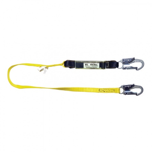 6' Shock Absorbing Lanyard - Single Leg w/ Snap Hooks