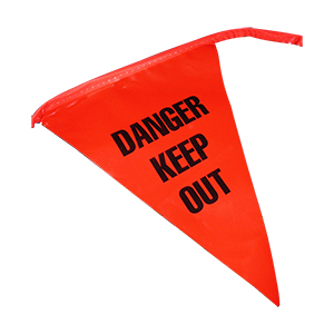 """""""Danger Keep Out"""" Pennant Flags 9"""" x 12"""" x 100'"""
