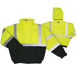 High Visibility Black Bottom Bomber Jacket - Lime Large