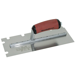 EIFS Stainless Steel Notch Trowel-1/2 X 1/2 X 2 'U' w/Curved DuraSoft® Handle