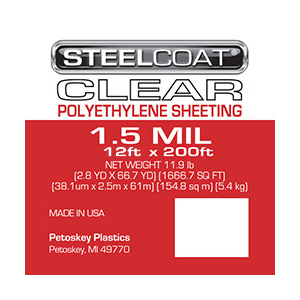 1.5 MIL Clear Plastic Sheeting - 12' X 200'