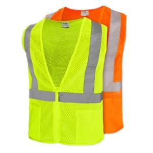 Hi Vis Safety Vest ANSI II Zip Mesh w/pockets L
