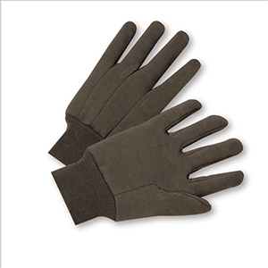 Cotton Brown Jersey Gloves - Large