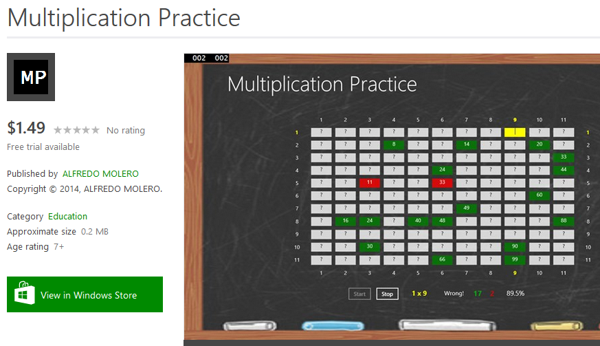 Multiplication Practice App in the Windows Store