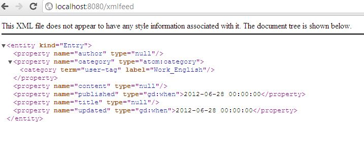 XML Feed Sample Output