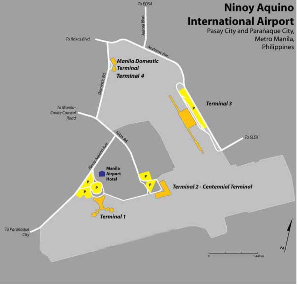 馬尼拉機場四個航廈位置圖