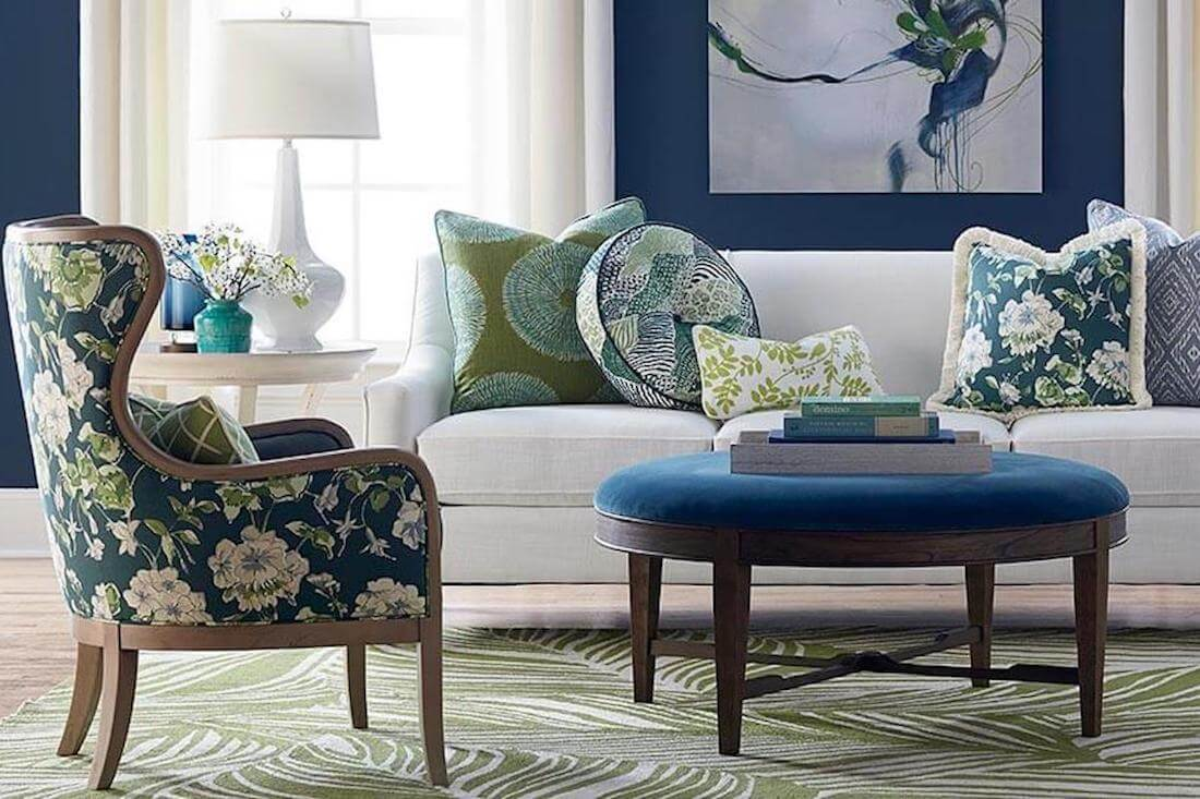 Pallisal Blue Green Transitional Living Room