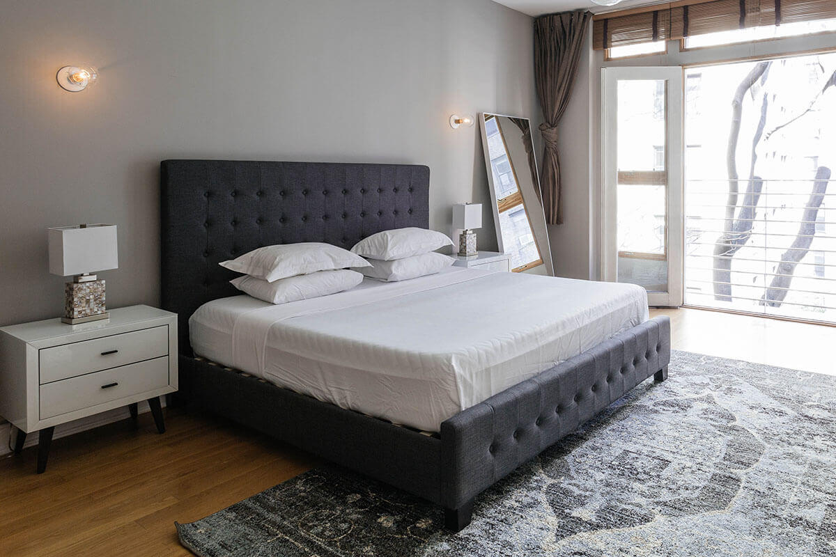 Tufted, Grey, White Glass Bedroom