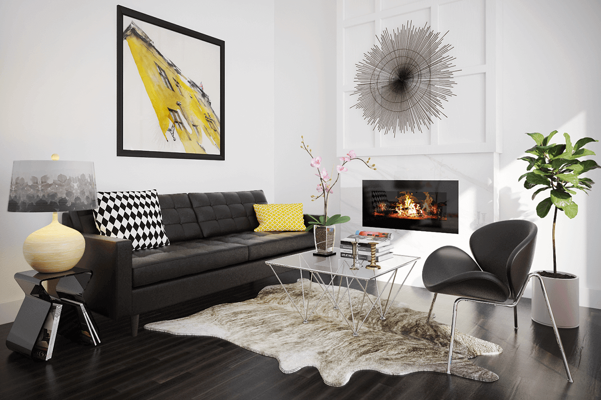 Black & Yellow Art Deco Living Room