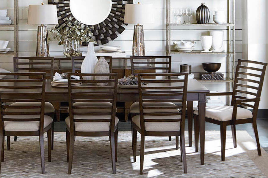Pallisal Dark Wood Contemporary Transitional Dining Room