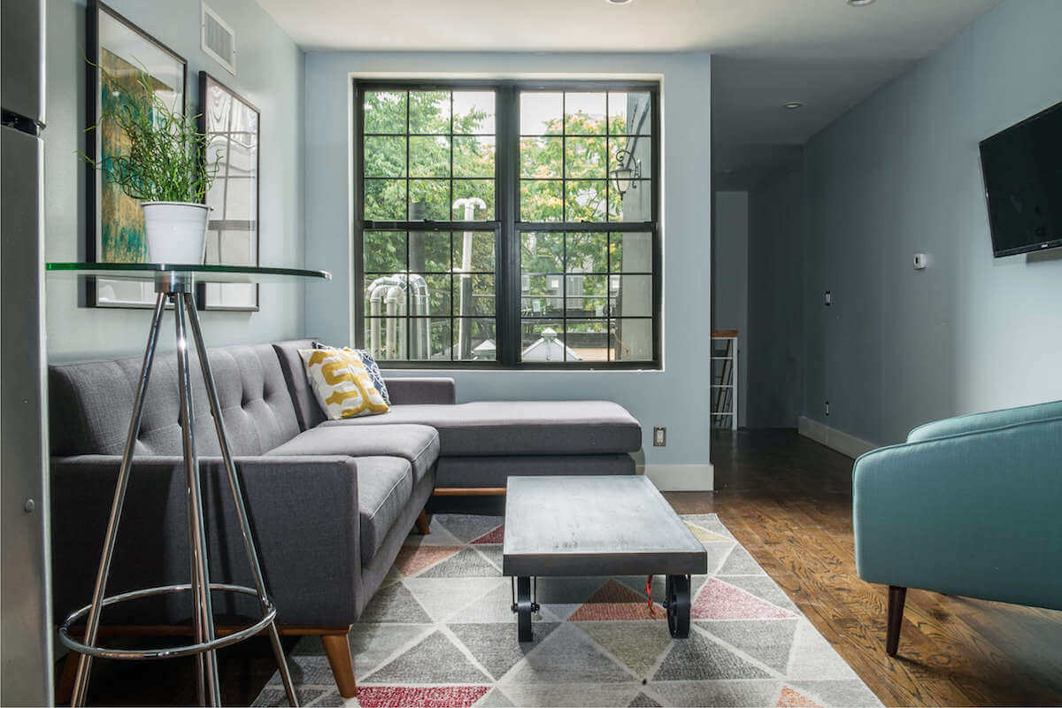 Grey & Blue Midcentury Modern Living Room