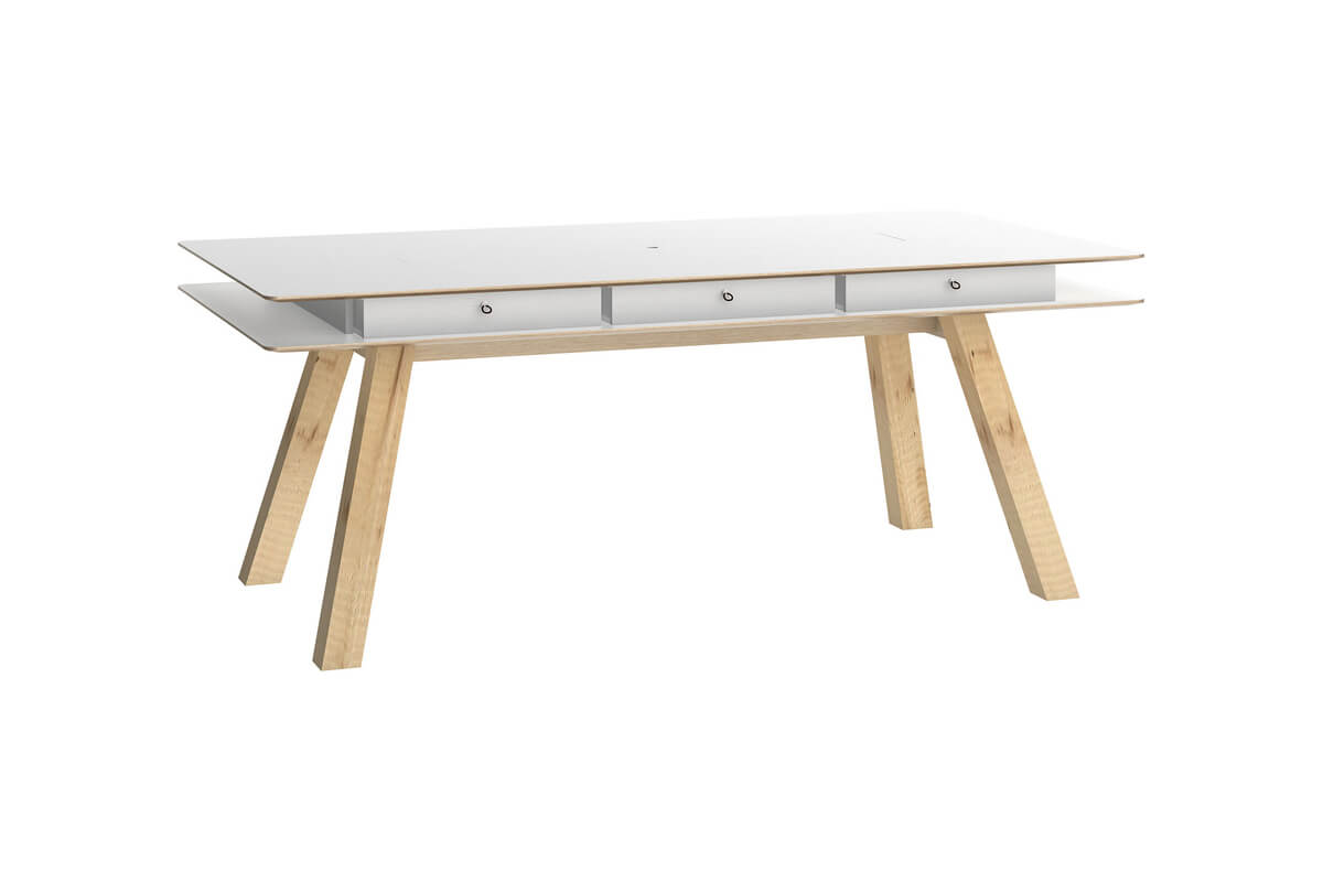 Fury dining table 6.5x3.2ft white top surface