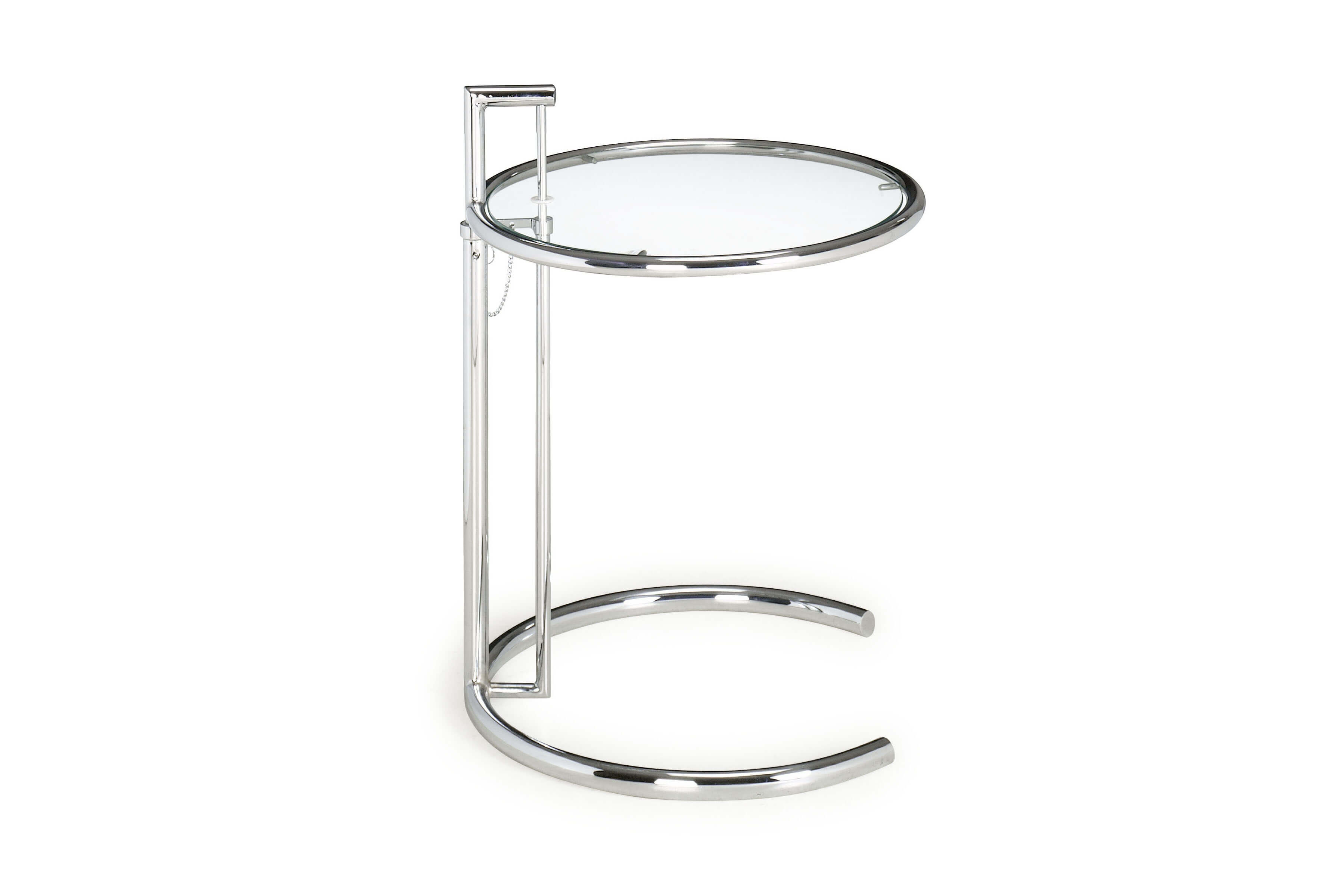 one of the true modern classics the eileen gray has a clear tempered glass top with a chromed steel tube frame and adjustable height 0 - Eileen Grey Tisch