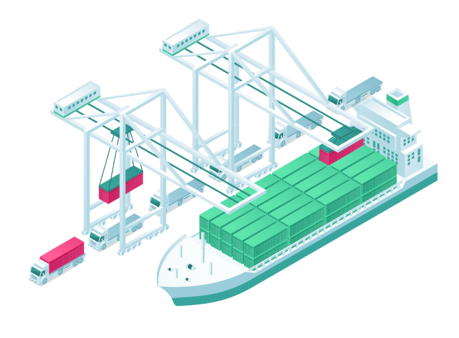 Logistic network between boats and trucks