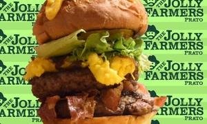 Menu con hamburger o pinsa romana, dolce e birra per 2 o 3 persone al pub The Jolly Farmers (sconto fino a 63%)