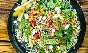 Menu vegetariano con antipasto, vellutata a scelta, maxinsalata componibile e green shake da King of Salad (sconto 57%)