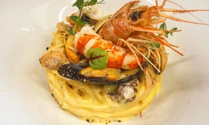 Menu gourmet di mare e terra, alla carta, con calice di vino per 2 persone da Murales Bistrò (sconto fino a 35%)