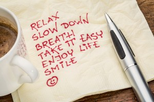 stress reduction concept - relax, slow down, breath, take it eas