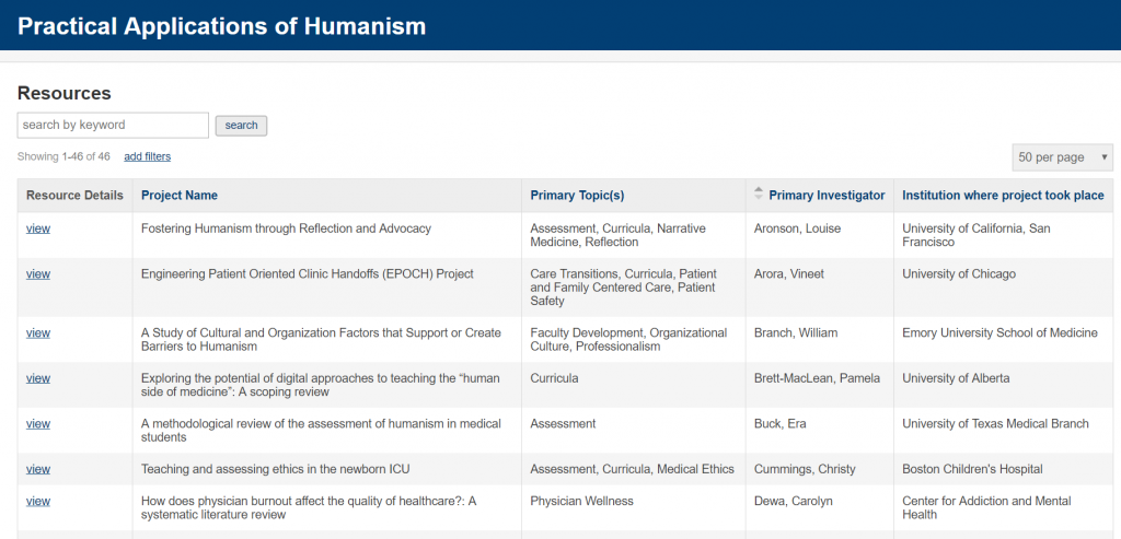 Screenshot of Practical Applications of Humanism Database