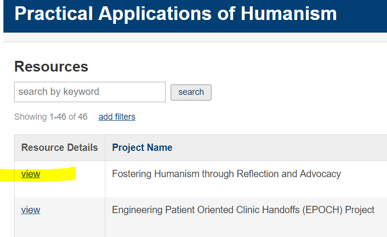 "Screenshot of Practical Applications of Humanism Database ""View"" link"
