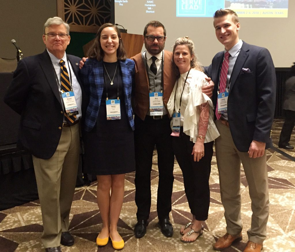 From left, Gold Foundation President Dr. Richard Levin, fourth-year student Hanna Distel, Dr. Mark Garry, his wife, Melody Francis, and third-year student Jeremy Kudrna. Hanna and Jeremy nominated Dr. Garry, who is a professor at University of South Dakota Sanford School of Medicine, for the Arnold P. Gold Humanism in Medicine Award. This photo was taken at a ceremony on Nov. 2, 2018, to honor Dr. Garry, who also gave a presentation to the AAMC Organization of Student Representatives during the luncheon.