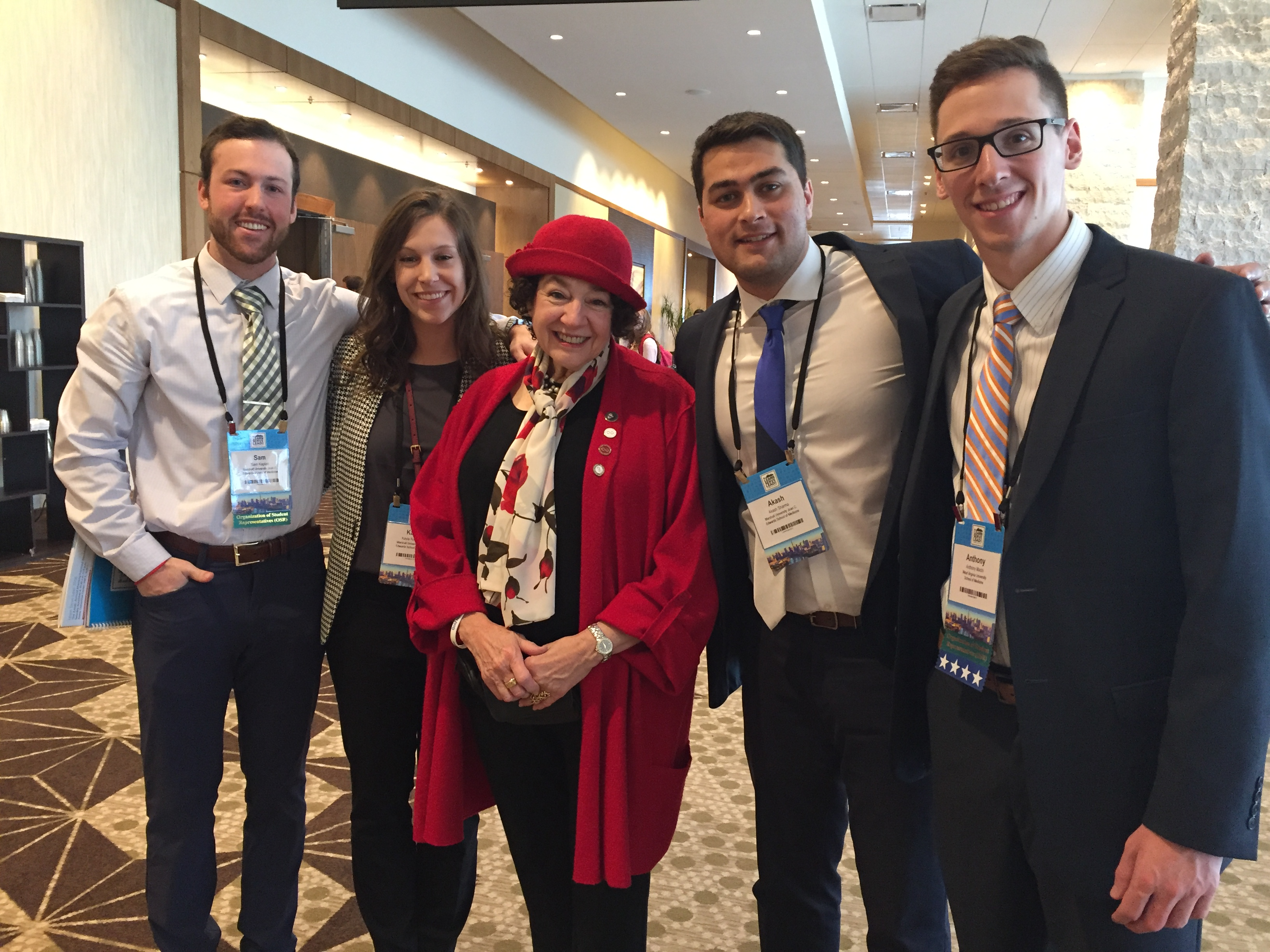 Our co-founder Dr. Sandra Gold with four amazing medical students at #AAMC18 ahead of the annual OSR Gold Foundation Humanism in Medicine Award Luncheon on Nov. 2, 2018. From left, Sam Kaplan, Kayla Rodriguez, Akash Sharma from Marshall University, and Anthony Machi from West Virginia University.
