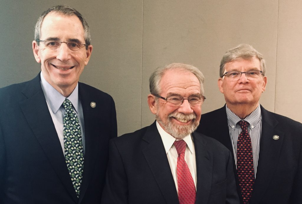 Gold Board Chairman Richard Sheerr, Gold Trustee Dr. George Thibault, and Gold President Dr. Richard I. Levin at the 2018 AAMC Annual Meeting