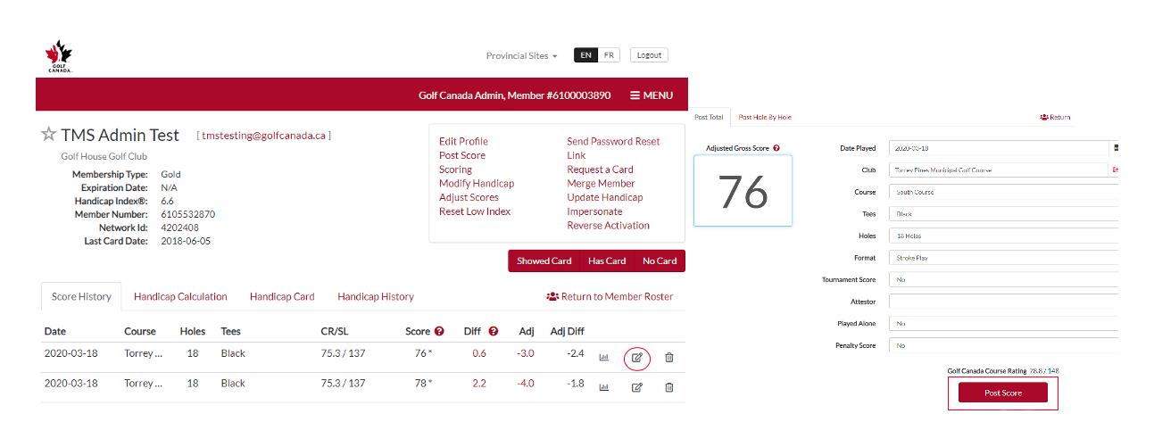 Edit Score in Golf Canada Score Centre