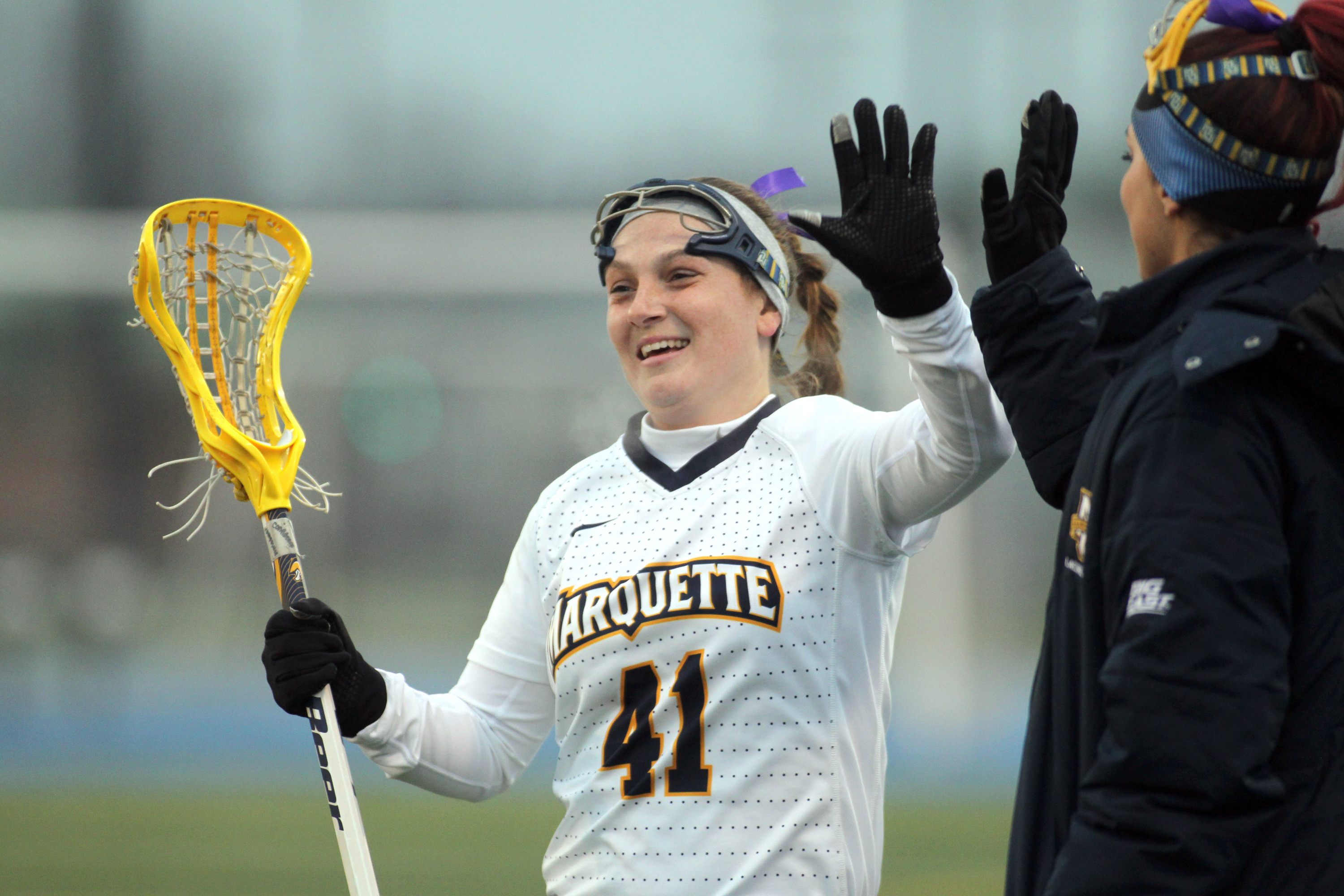 Senior attack Nicole Gleason scored her first two goals of the season in today's loss.