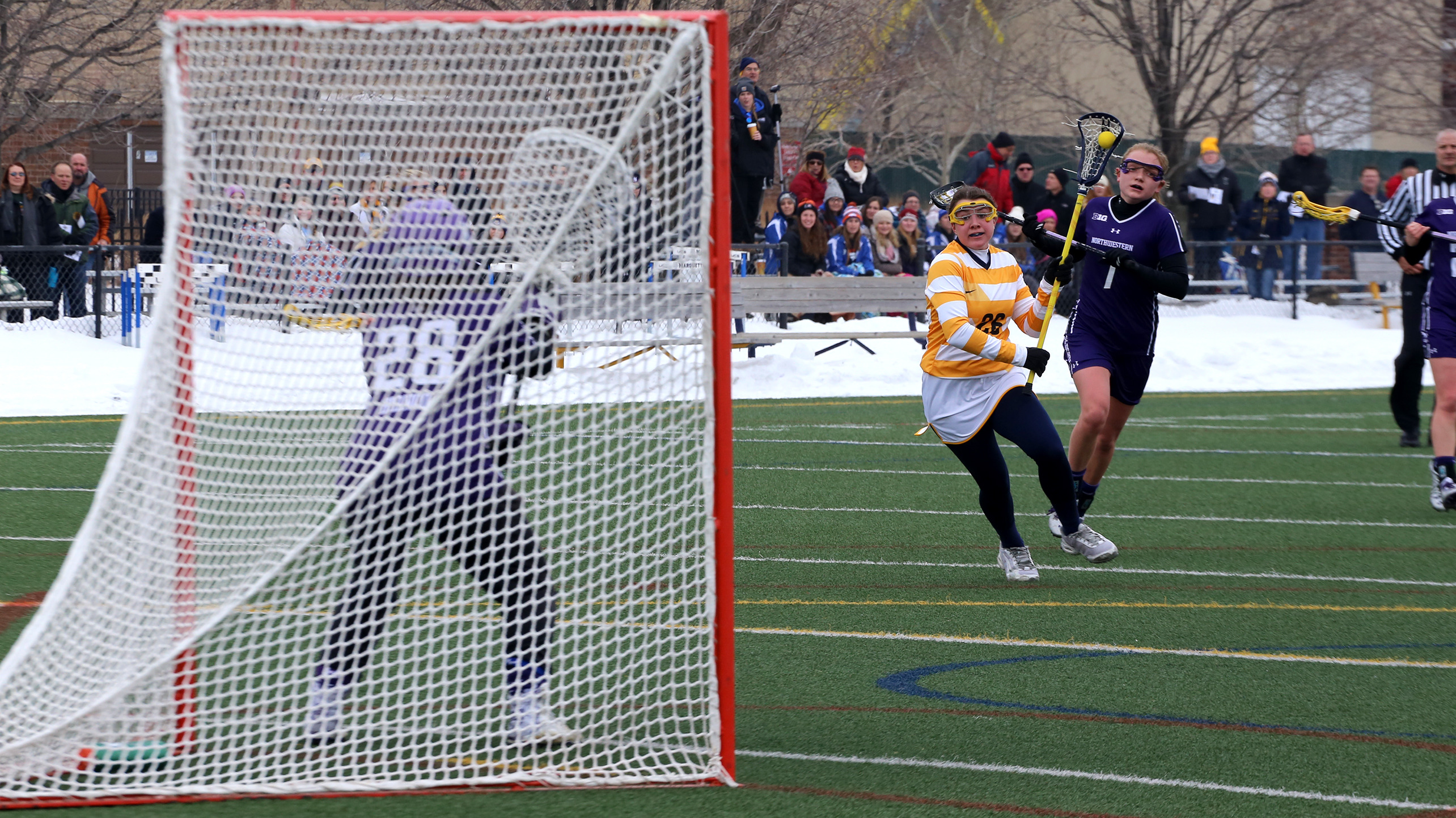 Riley Hill scored her first career hat trick in the 15-4 win over St. Mary's (Calif.).
