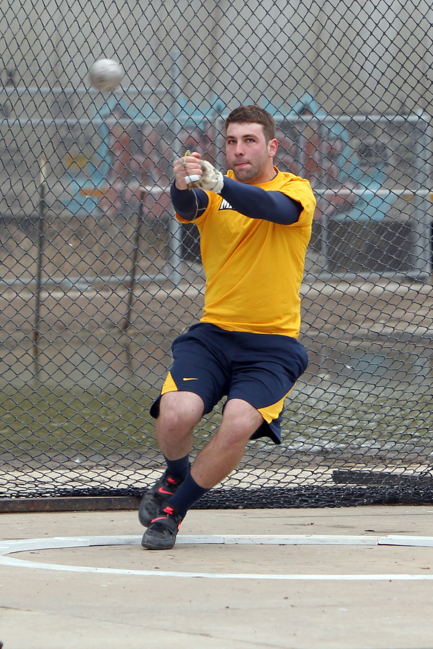 Senior Bret Hardin set a PR in the hammer throw in his final competition for MU.