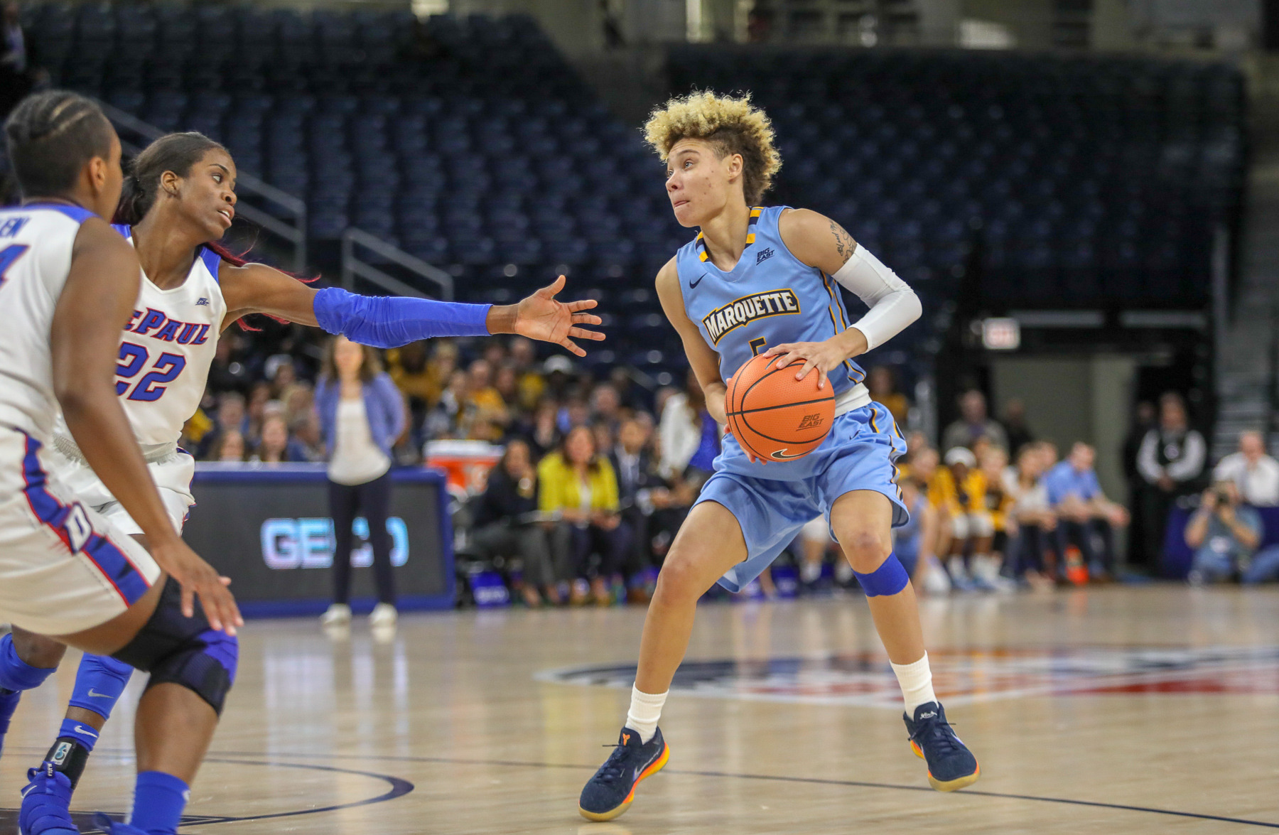 marquette falls to depaul, 98-63, in big east title game - marquette