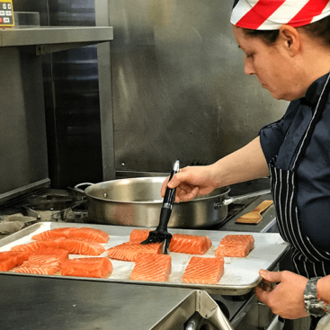 chef cindie preparing meals for home delivery in rhode island