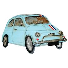 _CARRO FIAT 500 AZUL  EM METPARA PENDURAR OLDWAY 31x21x4cm