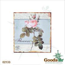 _PLACA DE METAL FLOWERS OLDWA25X25CM