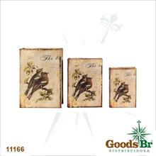 BOOK BOX CJ 3PC SEDA 2 PASSAROS GALHOS OLDWAY 36x25x10cm