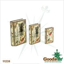 BOOK BOX CJ 3PC COM  FOTOS PASSAROS OLDWAY 33x21x7,5cm