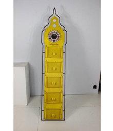 _RELOGIO COM REVISTEIRO BIGCHAO AMARELO OLDWAY 200x45x2,5cm