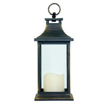 LANTERNA ANTIQUE GOLD MD C VELA DE LED OLDWAY 31x14x14cm