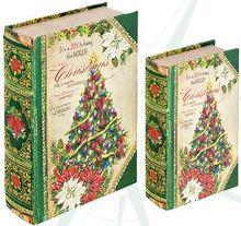 BOOK BOX CJ 2PC CHRISTMAS TREE OLDWAY 27x18x7cm