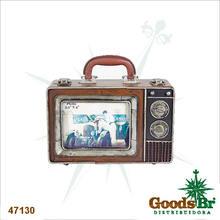 MALETA TV MARROM PORTA RETRATO OLDWAY 18x24x10cm