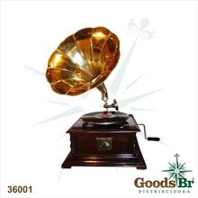 GRAMOPHONE DECORATIVO HORN DOURADO OLDWAY 67x37x44cm