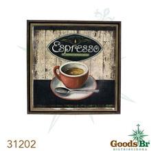 _QUADRO LINHO ANTIQUE CAFÉ ESPRESSO OLDWAY 70x70x3cm