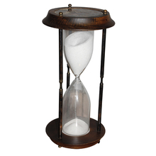 AMPULHETA DE MADEIRA E BRONZEOLDWAY d=14 h=30cm