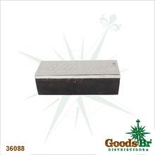 CAIXA MAD PRETA COM DOMINOSE TAMPA INOX OLDWAY 6x20x7,5cm