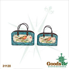 _REVISTEIRO CJ 2PC AZUL ARABESCO OLDWAY 36x27x13cm