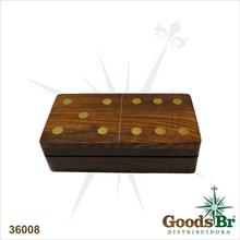 JOGO DE DOMINO MADEIRA C BOX OLDWAY 15x8x3,5cm