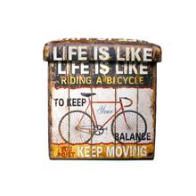 BAU EM PVC LIFE IS LIKE MARROM OLDWAY 35x35x35cm